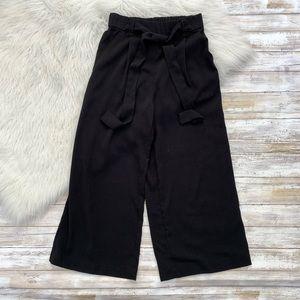 Zara Black Paper Bag Wide Leg Waist Tie Pants